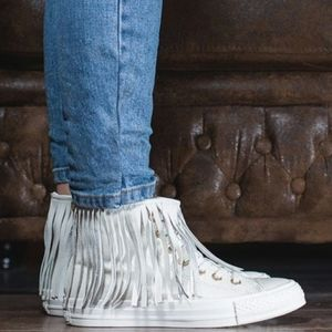 Converse High Top White Leather Fringe Sneakers